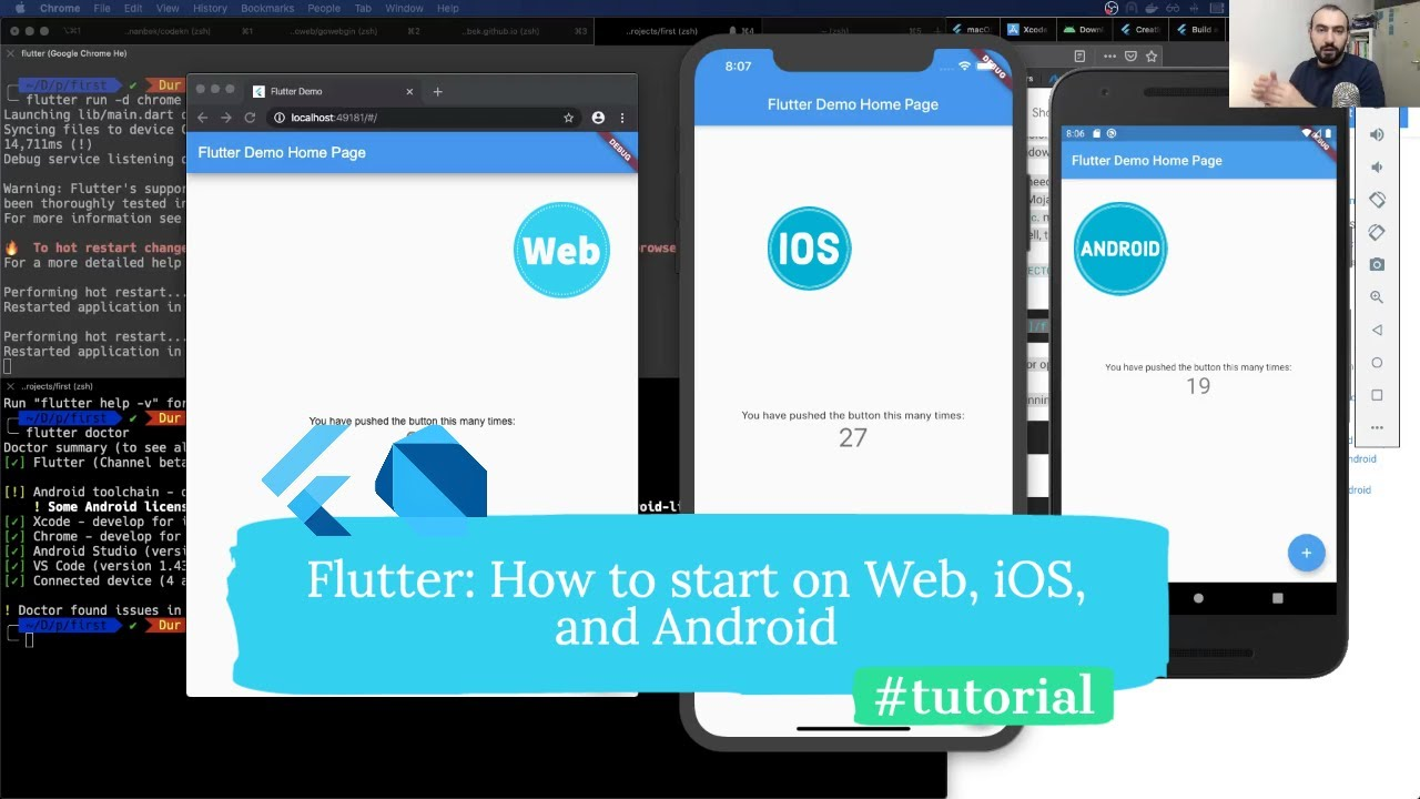 Flutter: How to start Flutter app on Web, iOS and Android (Tutorial)