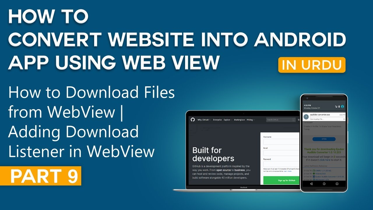 How to Convert Website into Android App Part 9 | Download Files from WebView | Adding Listener