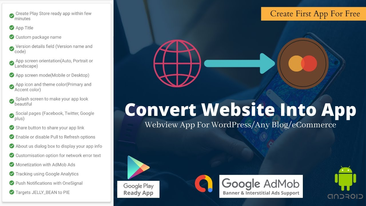 How To Convert Website Into App (WordPress Blog, eCommerce) Play Store Ready App