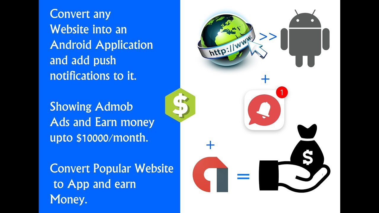( $10000/month ) Convert any Website to app with push notifications and show admob ads to earn money