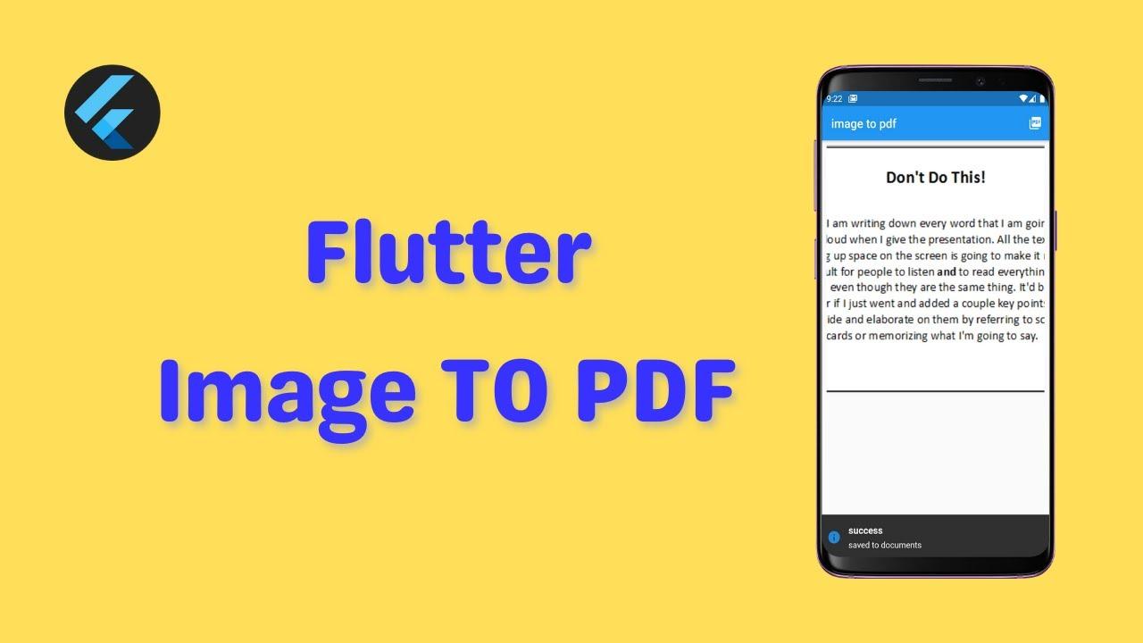 Flutter Image TO PDF Converter | Complete Tutorial + Source Code