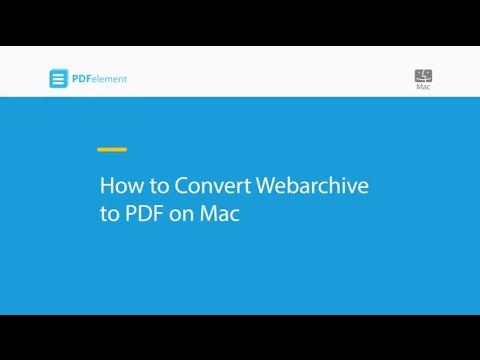 How to Convert Webarchive to PDF on Mac (macOS 10.14 Mojave)