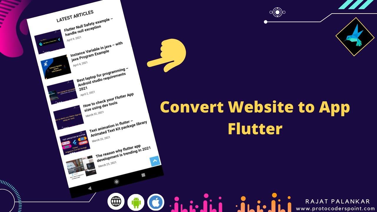 Flutter webview example – Convert Website to app – Flutter Webview tutorial
