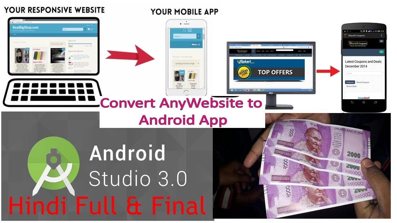 Any Website Convert to Android app using Android Studio hindi full & final