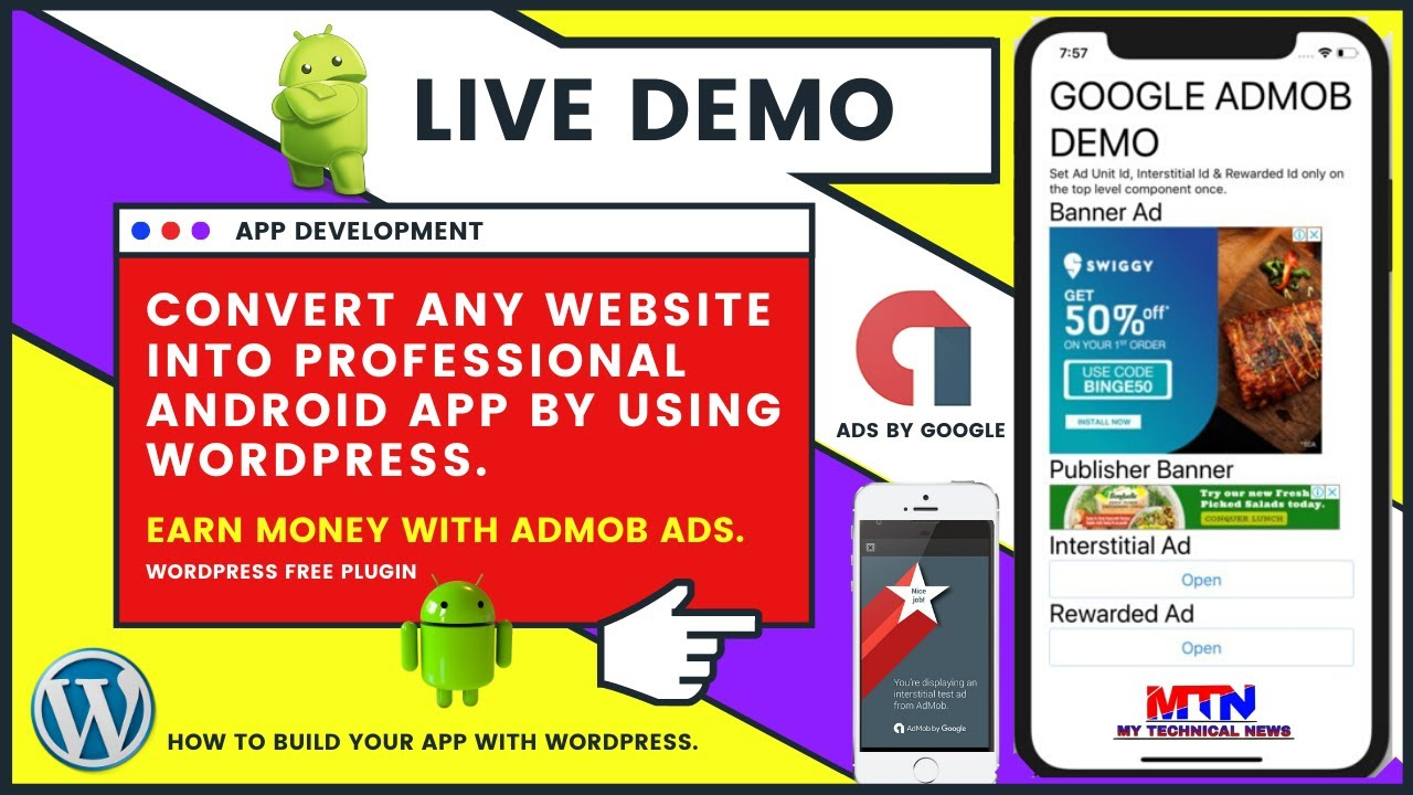 Live Demo   Turn Your WordPress Website To Android App