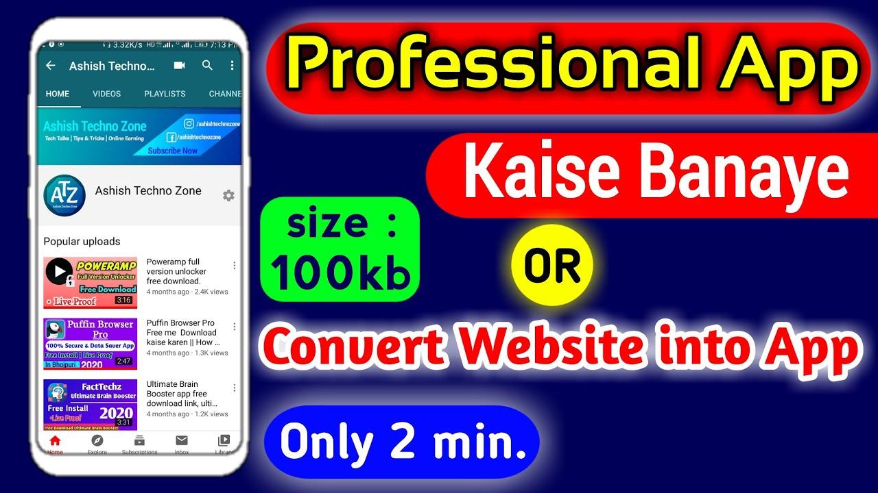 Convert Website into App   App Kaise Banaye Mobile se by ashishtechnozone