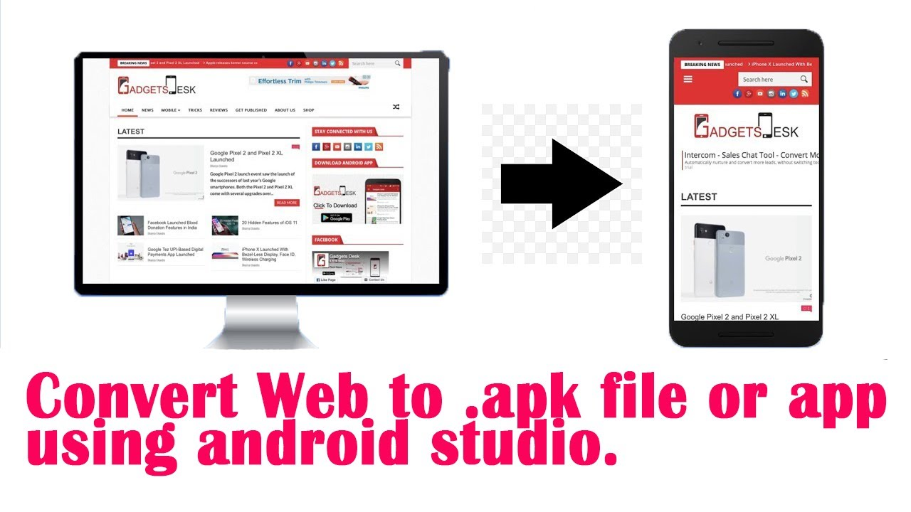Easily convert website to .apk file or app using Android Studio.Convert web to app android studio.