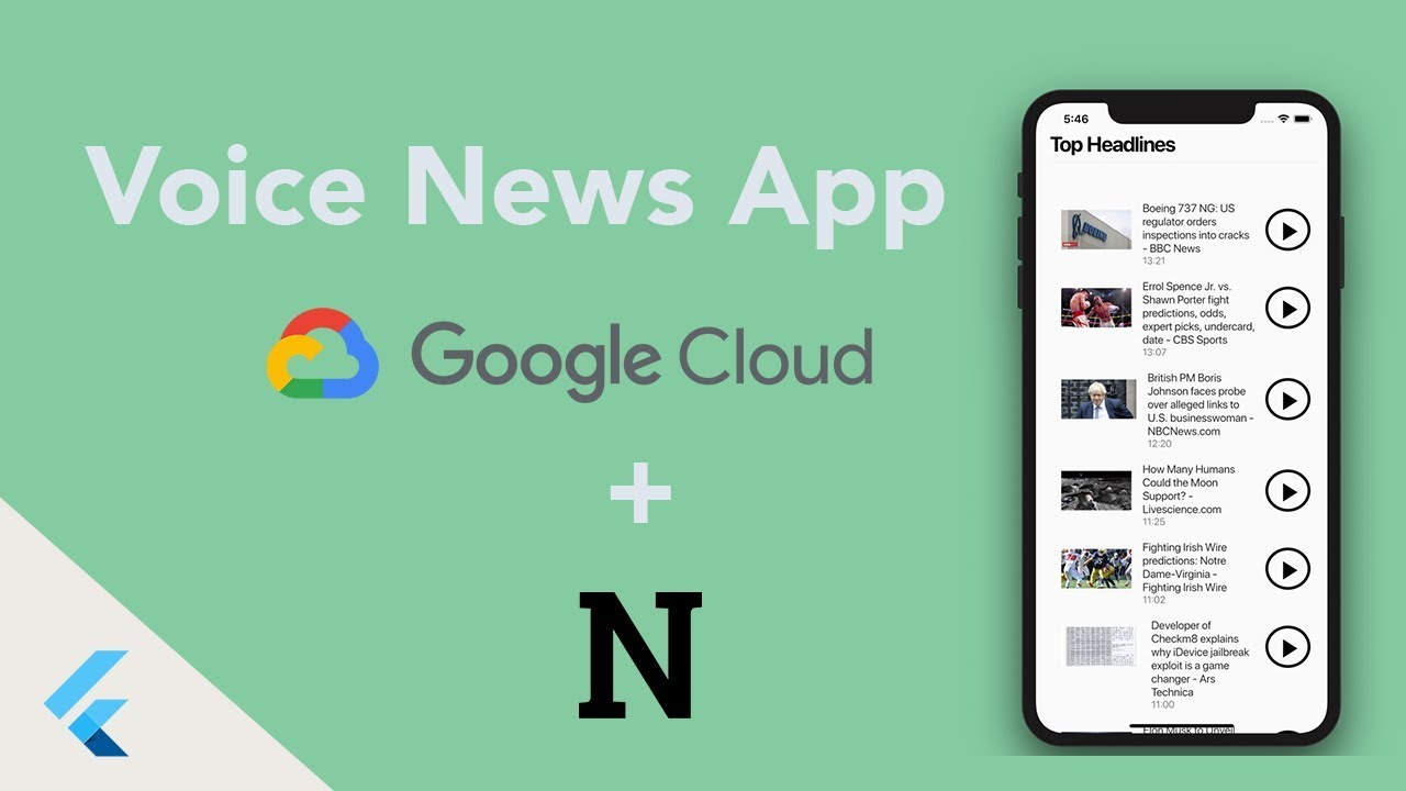 News Reader App Using Flutter With Google Cloud And News API