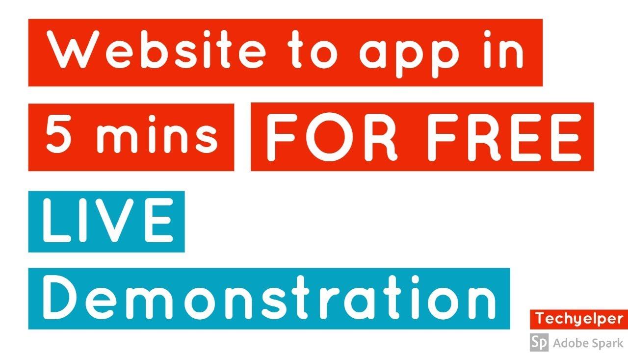How to convert website to app in 5 min   Live Demonstration   Techyelper