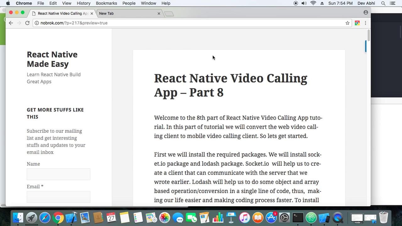 React Native Video Calling App Demo – Part 8