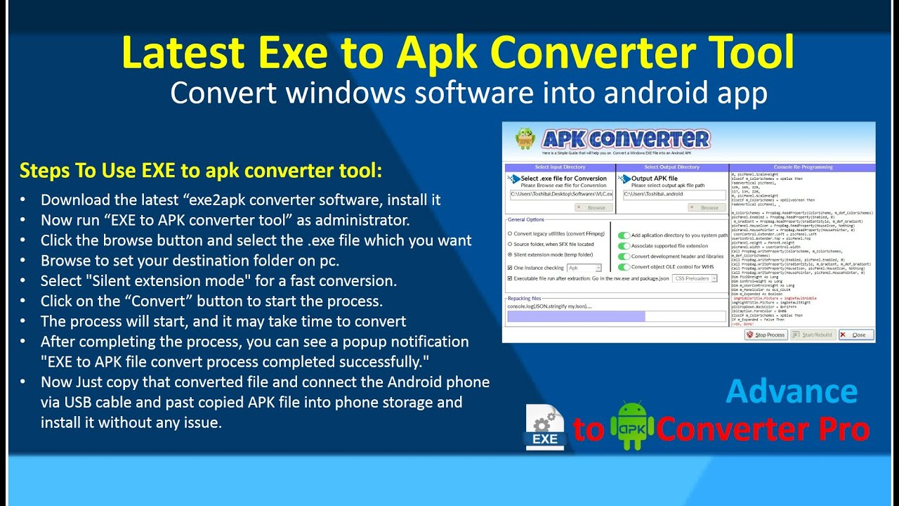 Latest Exe to Apk Converter Tool | Convert windows software into android app