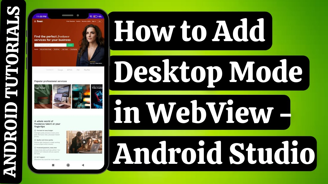How to Convert Website into Android App: Desktop Mode in WebView  Android Studio   Android Tutorials