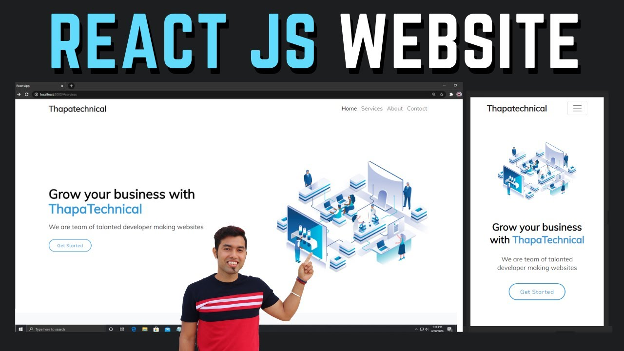 🔴 Complete Responsive Animated Website using React JS in Hindi in 2020