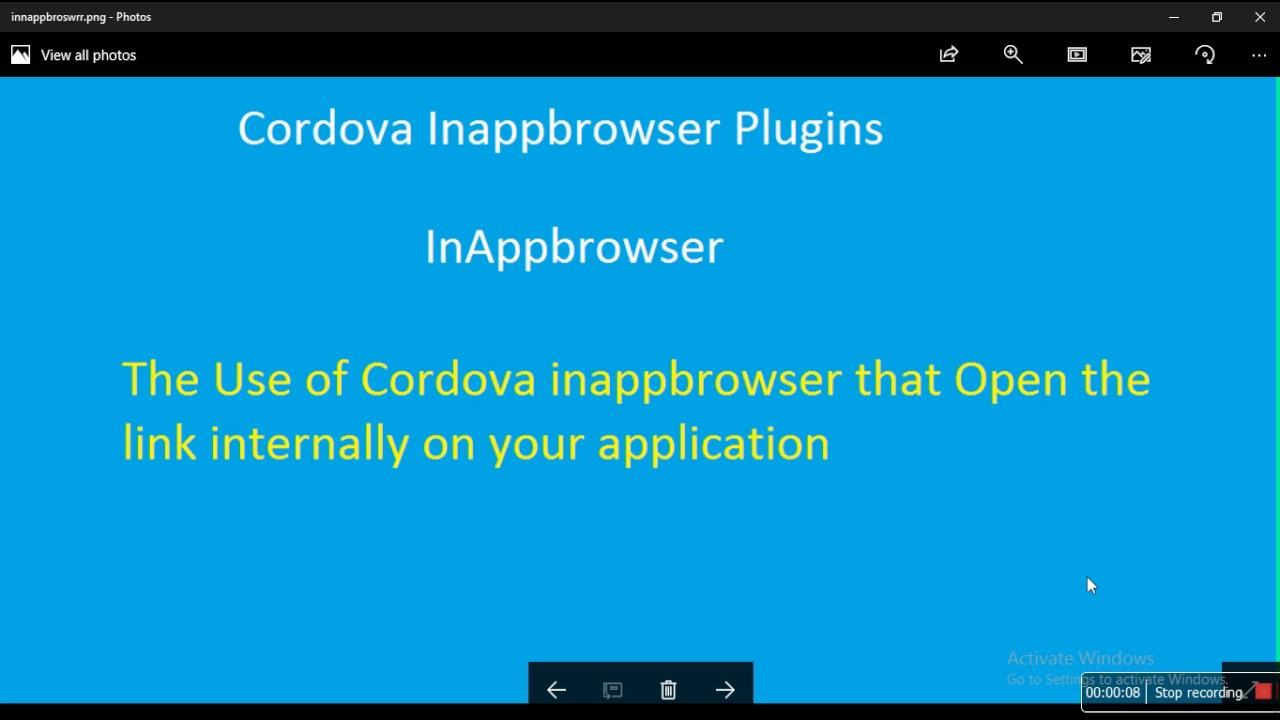 InAppbrowser plugin in Cordova application