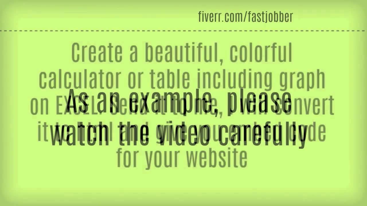 Fiverr service : Convert Excel Calculator to Html For Websites or WordpRess