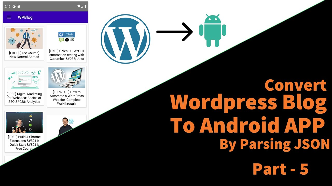 Convert WordPress Blog to Android App Using JSON API | Part 5 | Display Posts in RecyclerView