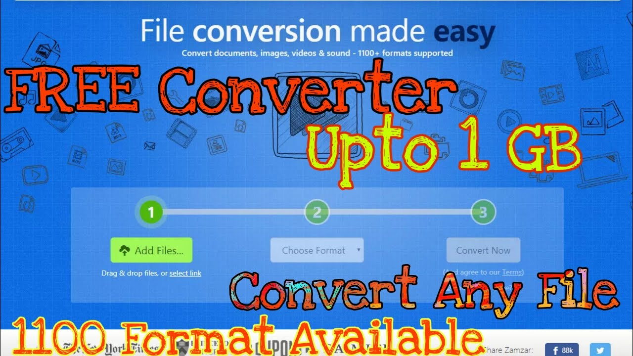 Best FREE Online File Converter | Convert file into 1100 Format Without any App | Zamzar converter