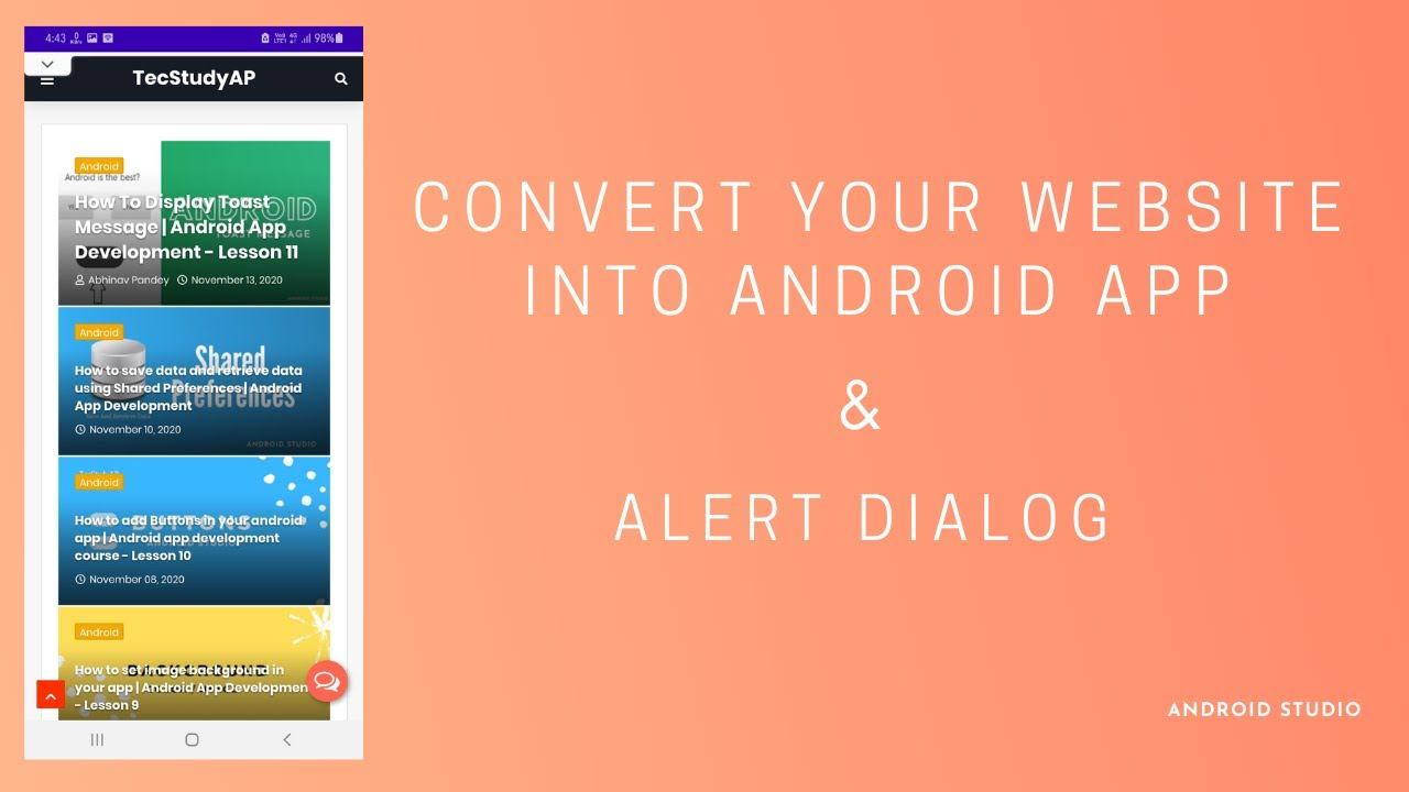 How to convert your website into android app using WebView and how to use AlertDialog Box Tutorial.