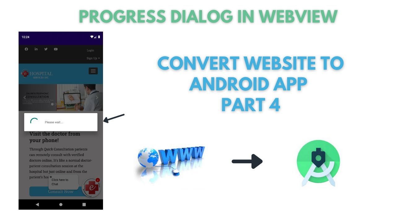 Progress Dialog WebView | Convert Website to Android App Part 4 | WebView | Android Studio 2021