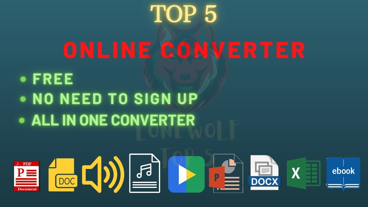Top 5 Best Online Converter | All in One | Mp3 | Document | Video | Ebook | Image|Document Converter